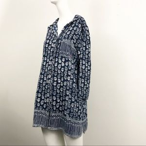 Lucky Brand Blue/White Paisley Tunic - Size M